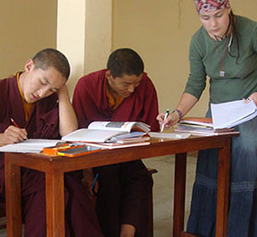 Volunteers with young monks