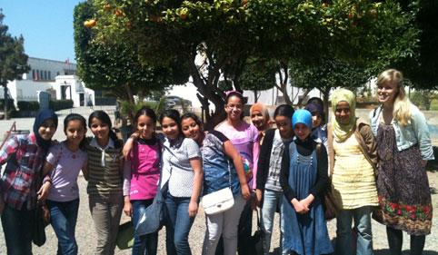 Happy volunteers in morocco