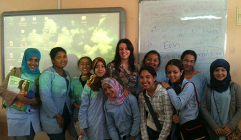 volunteer with students in morocco