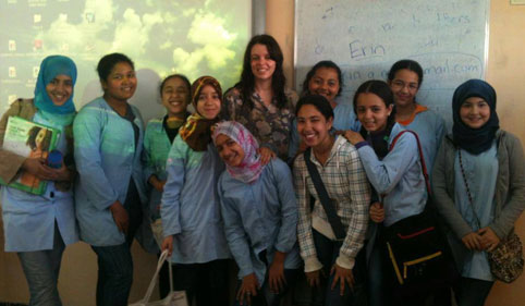 Volunteers with students in Morocco